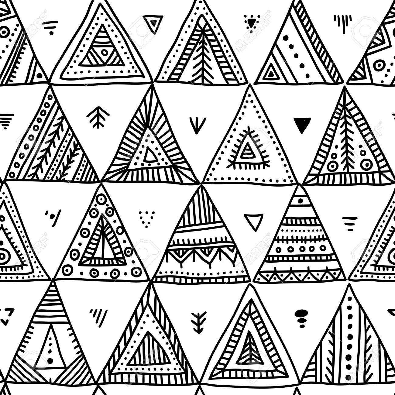 Vector Sin Patrón Con Los Triángulos De Estilo Tribales étnicas ...