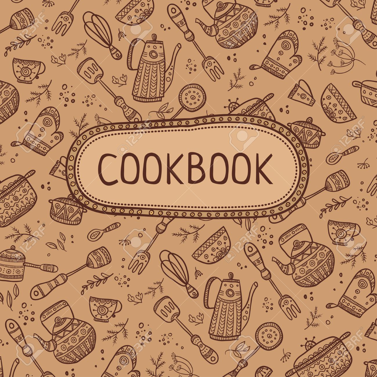cookbook cover design with kitchen items pattern vector template stock vector 54413388