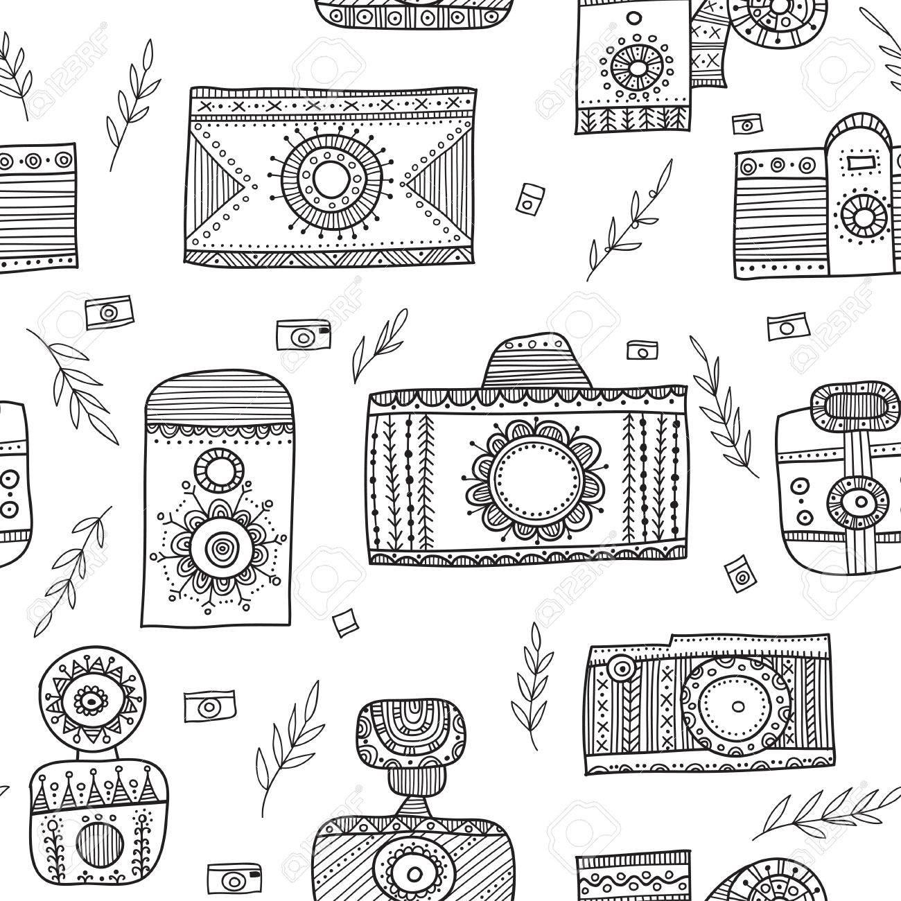 Vettoriale Boho Macchine Fotografiche D Epoca In Stile Etnico