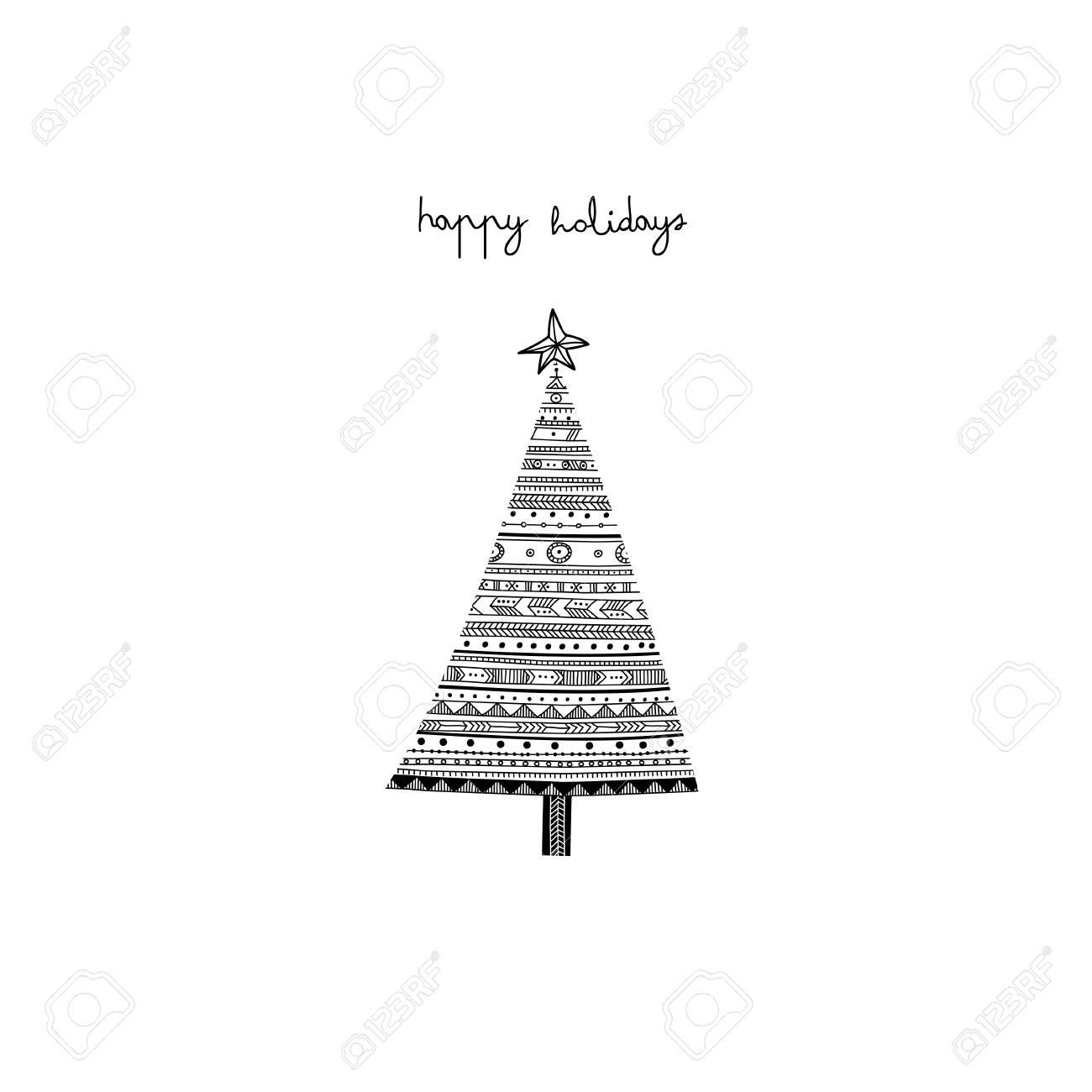 Felices Fiestas Patrón étnico árbol De Navidad Tarjeta. Se Puede ...