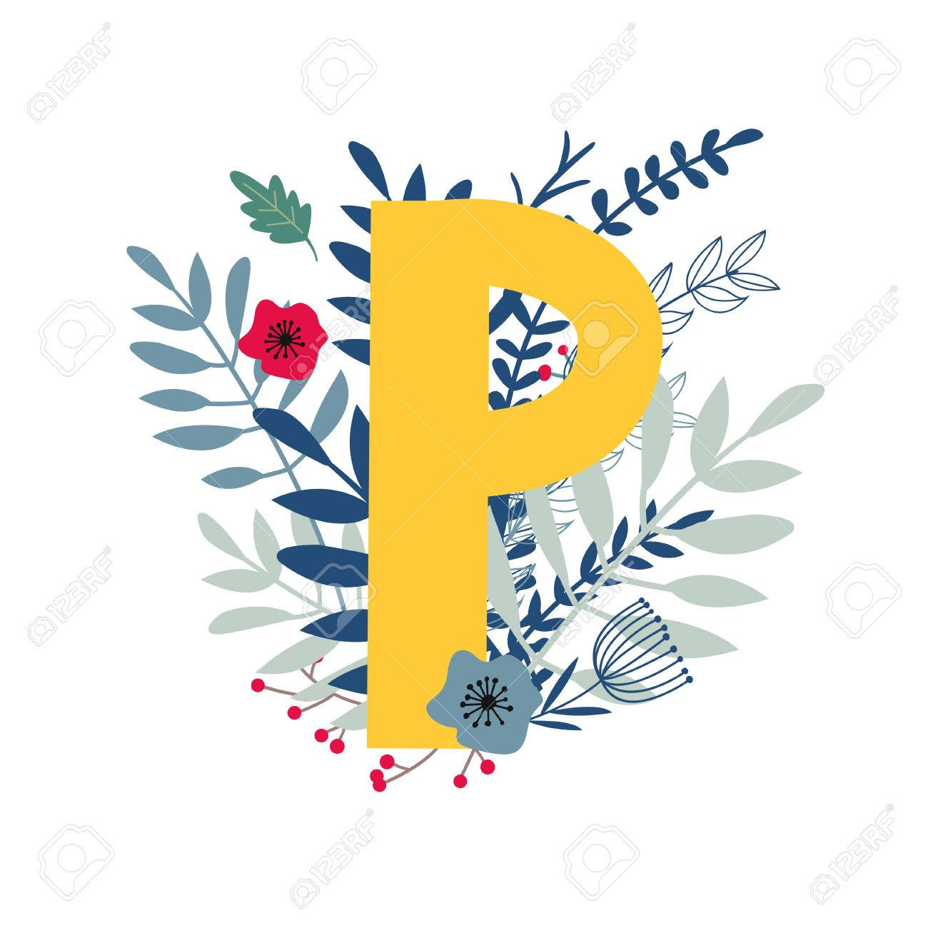 alphabet letter p in floral design with flowers and plants vector colorful abc element