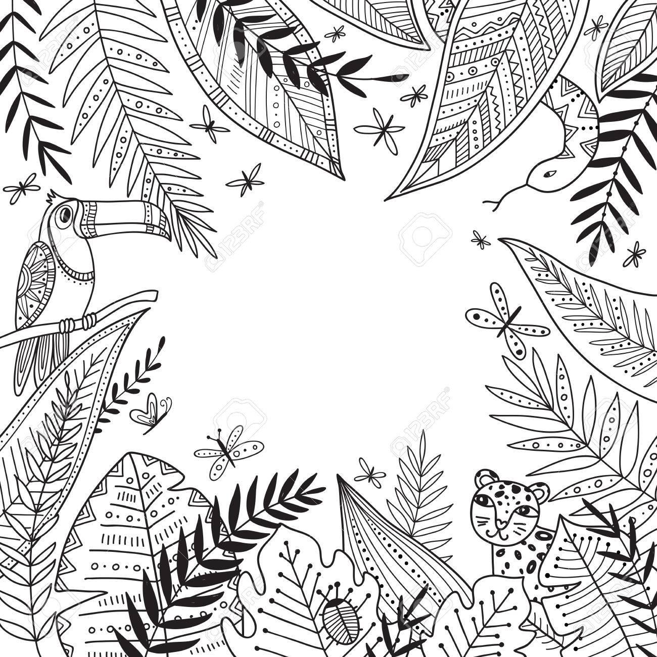 Vector Marco De Selva Tropical Con Lugar Para El Texto Con Plantas Exóticas Palmeras Y Hojas En El Estilo Tribal Boho La Cabina Se Utiliza Como