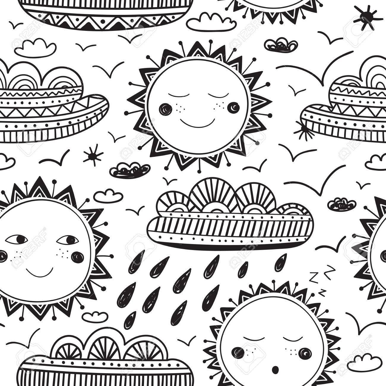 Un Vector Sol Lindo Y Nubes Infantil Patrón Sin Fisuras. Aislado ...