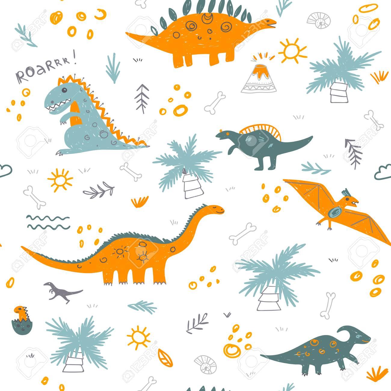Vector El Modelo Infantil Inconsutil Con Los Dinosaurios Coloridos