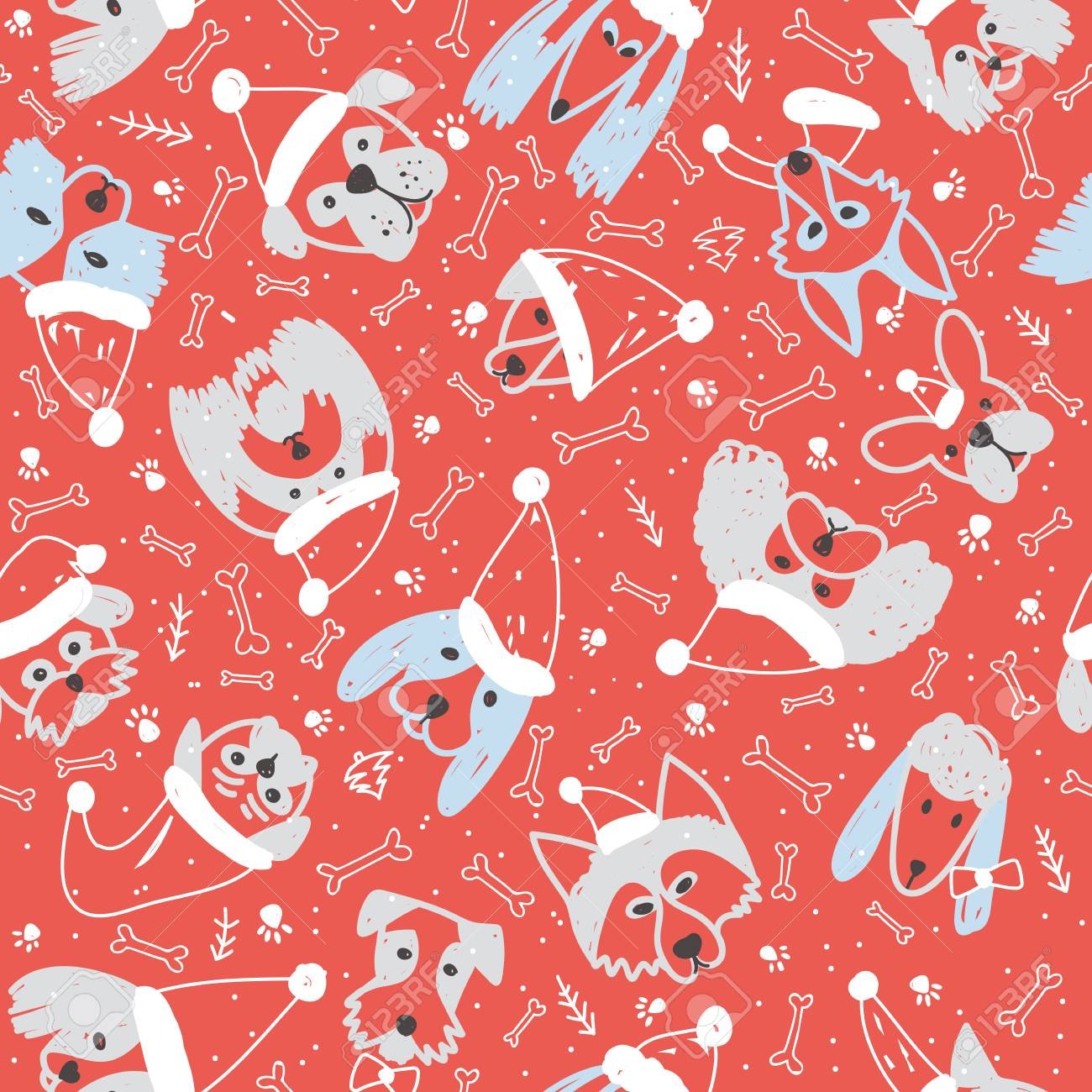 Vector Seamless Pattern With Dogs In Santa Claus Hat Symbol On ...