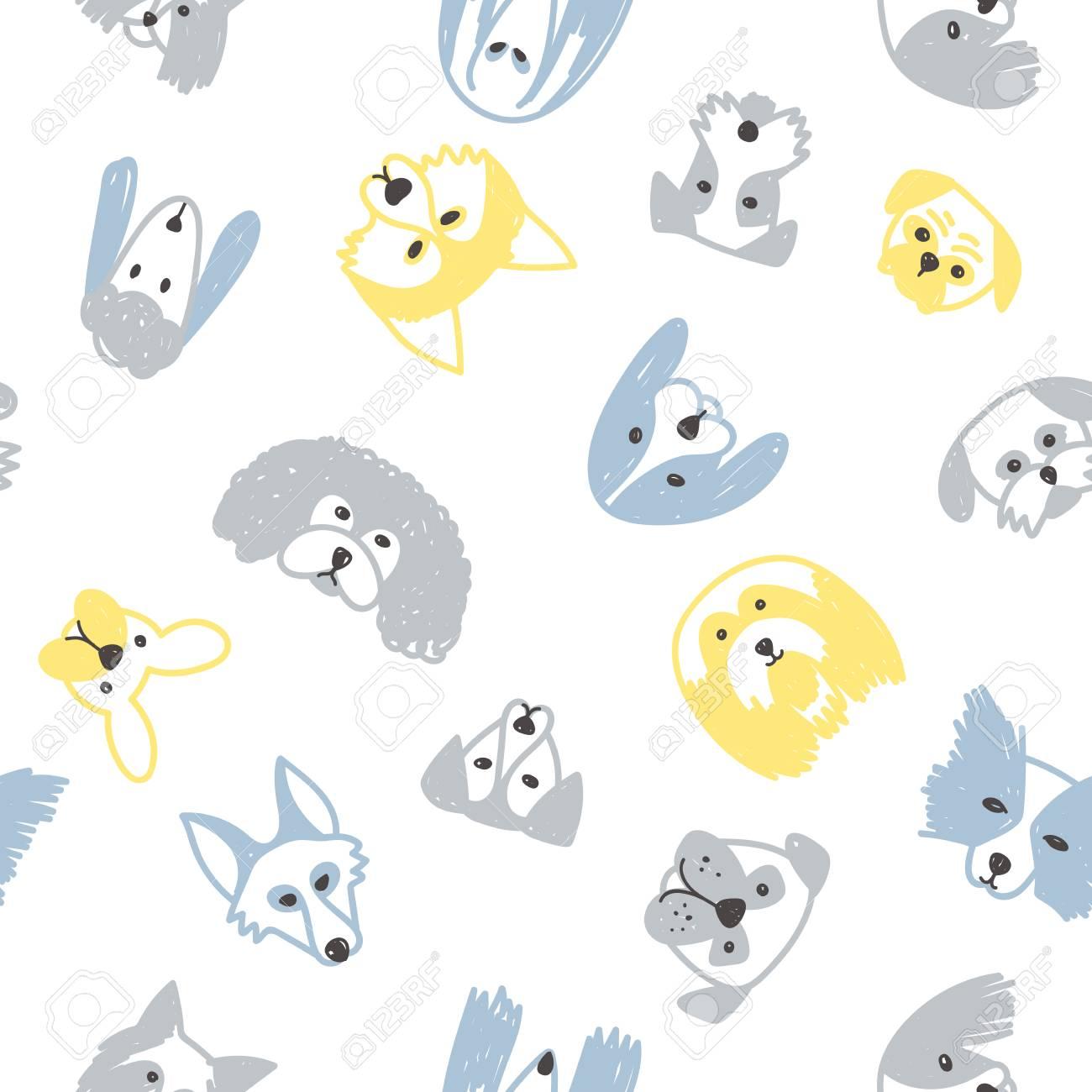 Patrón Transparente De Vector Con Símbolo De Perros En 2018 Año ...