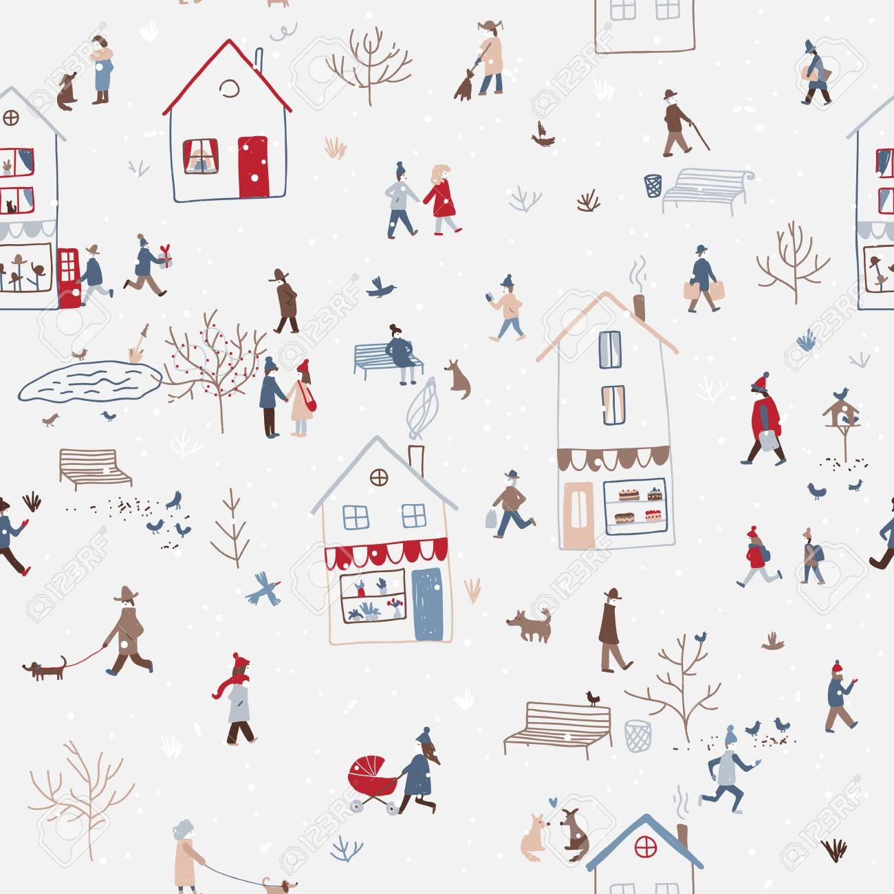 Vector winter seamless pattern with people walking in snowy Christmas city with houses, dog, tree, birds, snow. Can be printed and used as New Year wrapping paper, wallpaper, textile, etc. - 91376701