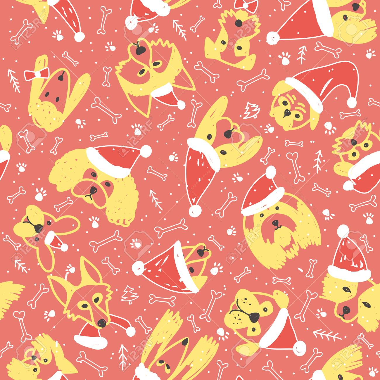 vector vector seamless pattern with dogs in santa claus hat symbol on 2018 chinese new year can be printed and used as wrapping paper wallpaper