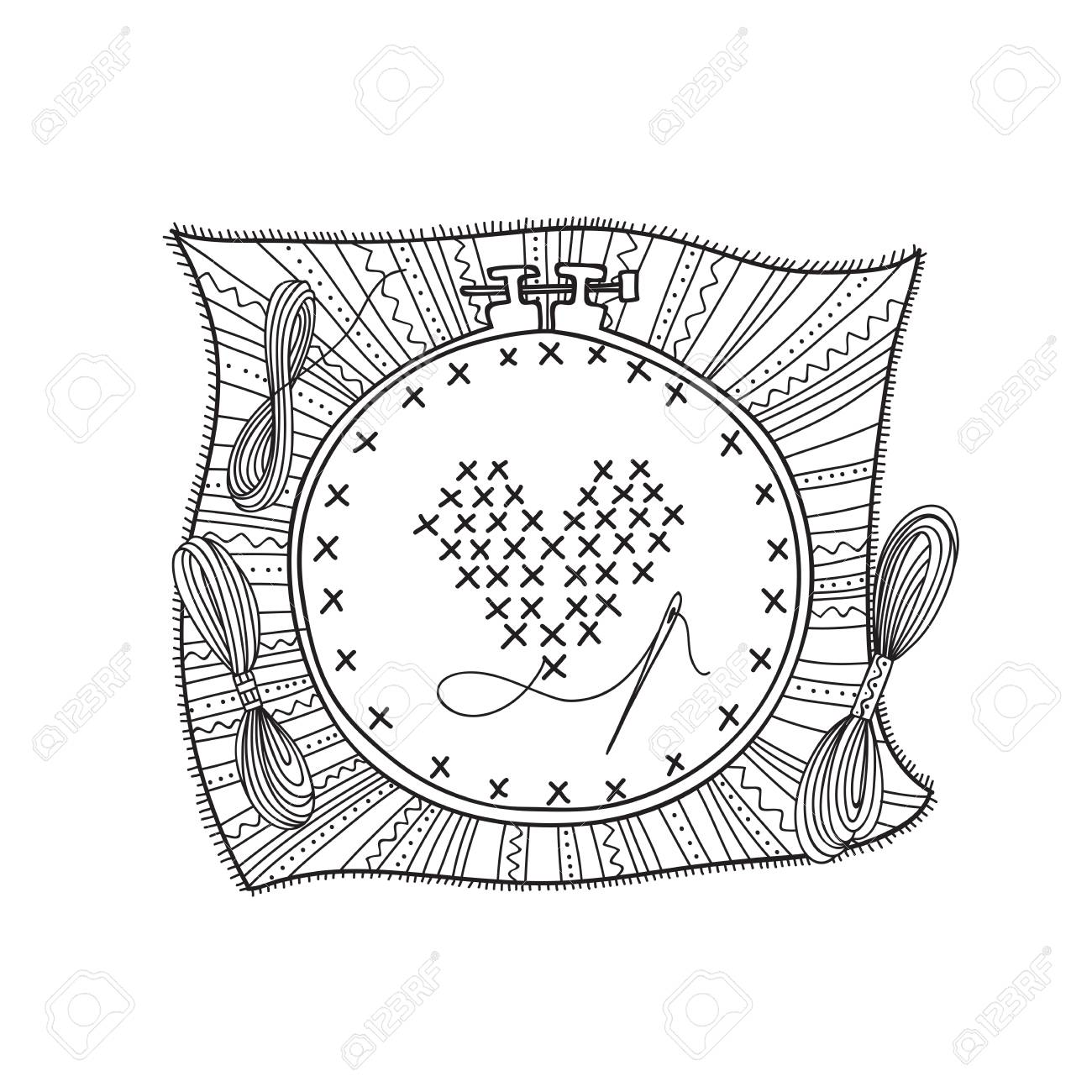 Vector illustration of embroidery with hoop and thread