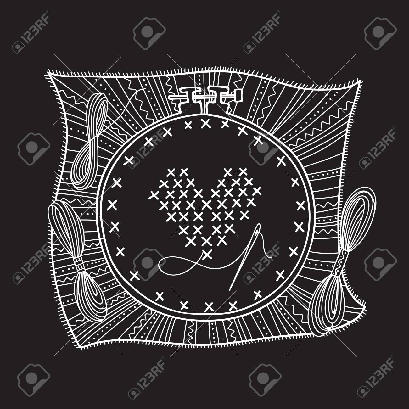 Vector illustration of embroidery with hoop and thread  Can be