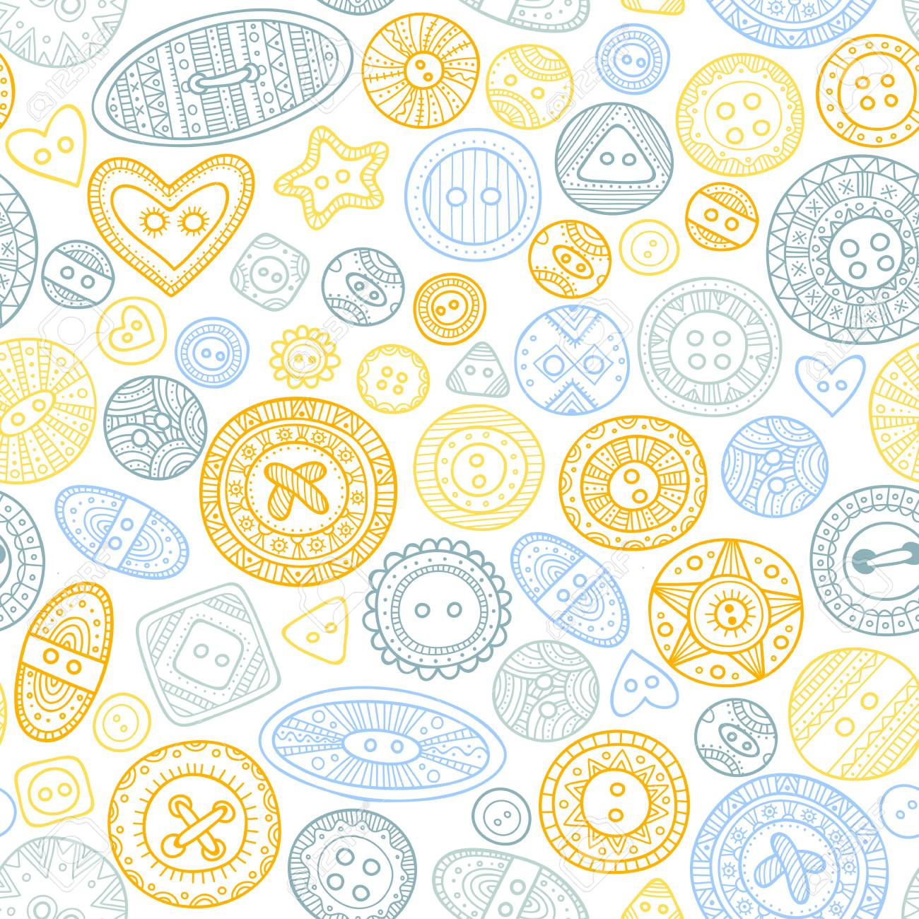 Vector Seamless Pattern With Cloth Buttons In Boho Style, Sewing ...