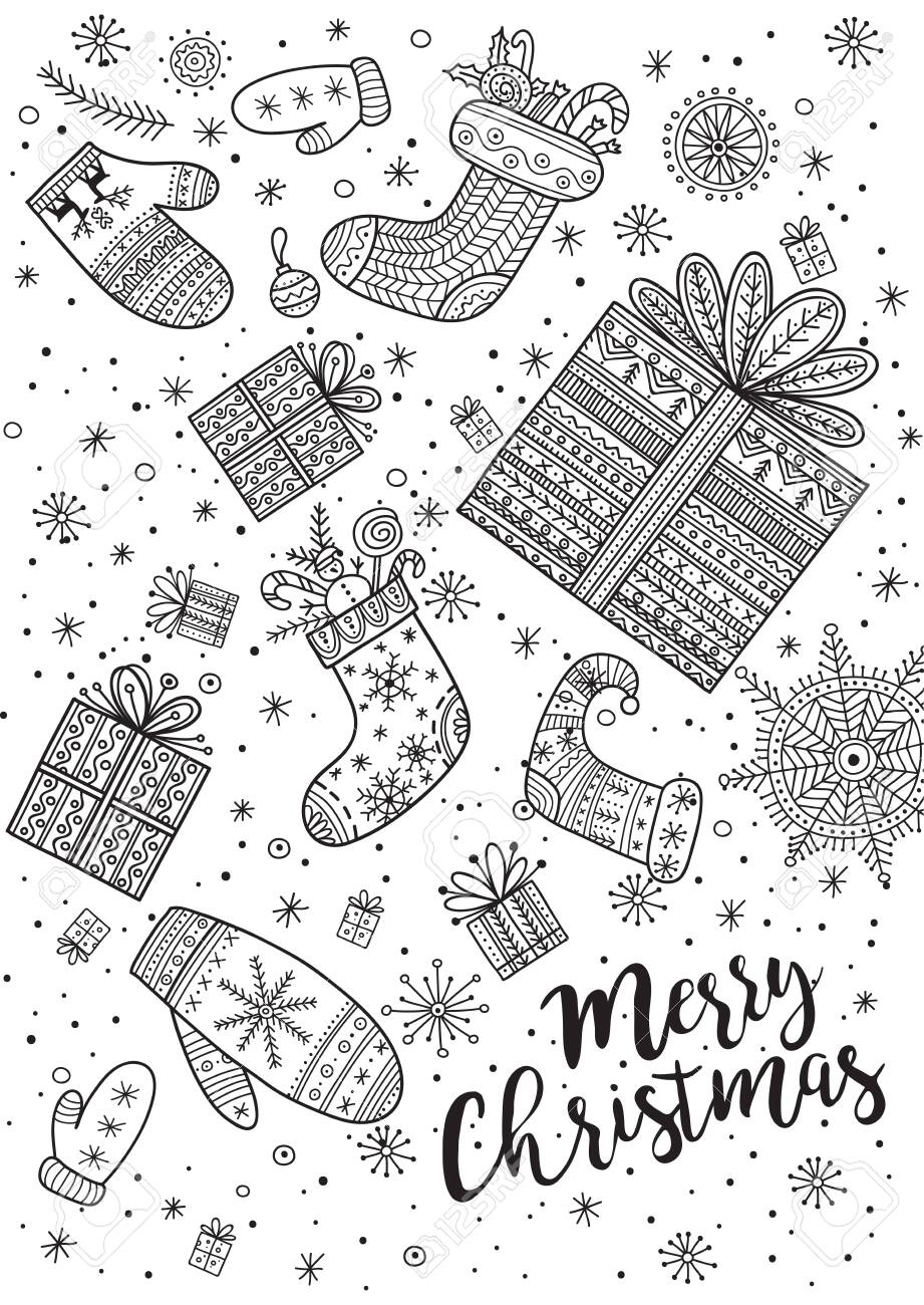 Merry Christmas Coloring Page In Boho Style With Ornaments
