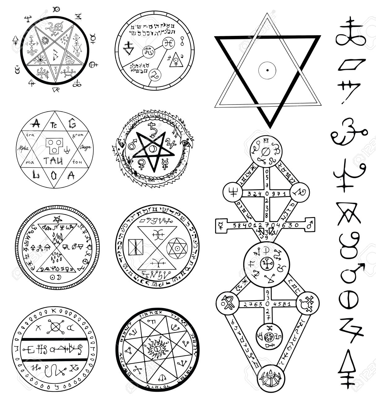 Mystic set with magic circles, pentagram and symbols. Collection of sketch doodle emblems with mystic and occult hand drawn symbols. Halloween and esoteric concept - 60321709