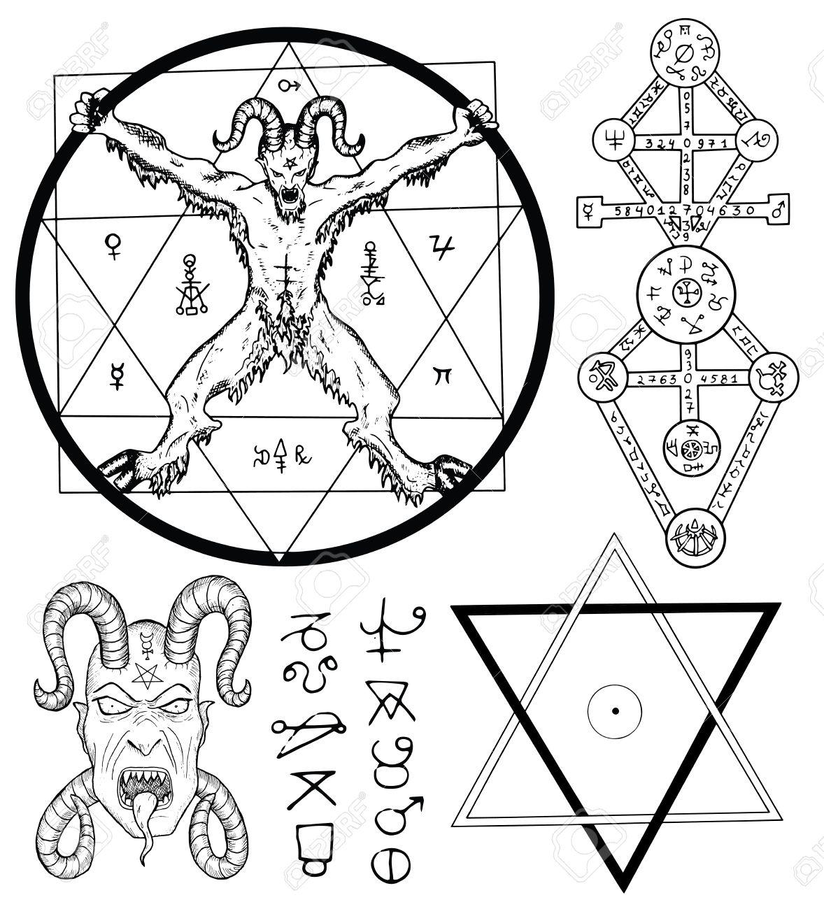 Magia Fija Con El Diablo, Satanás, Estrella De Cinco Puntas Y ...