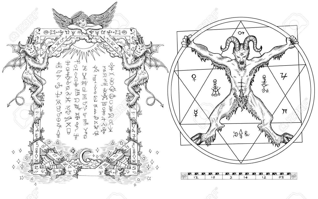 Conjunto Gótico Gráfico Con El Diablo En Círculo, Estrella De Cinco ...