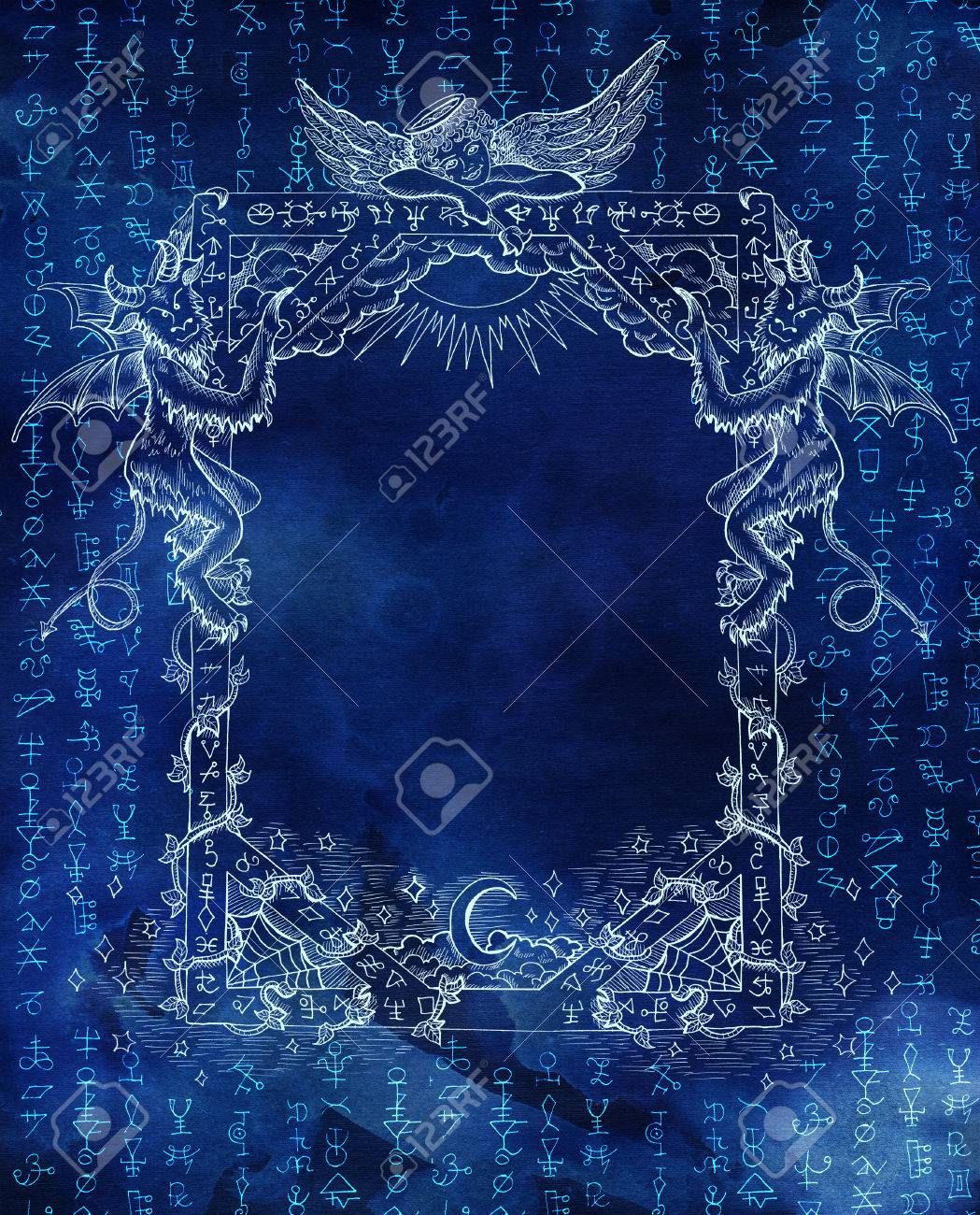 Abstract background with golden mystic symbols on blue texture abstract background with golden mystic symbols on blue texture for wallpapers cards print biocorpaavc Choice Image