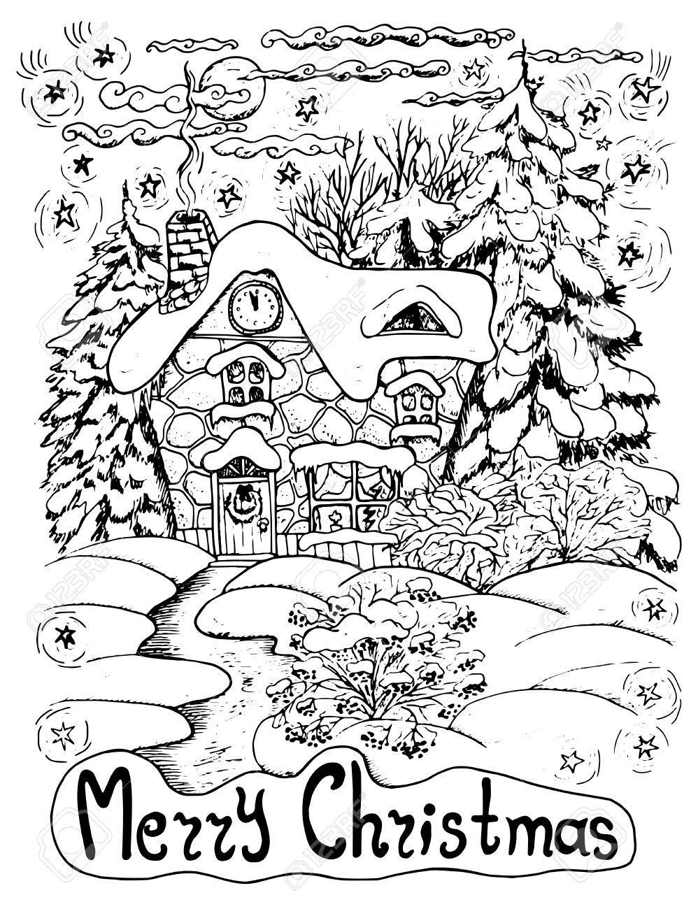 Black And White Christmas Card With A House And Conifers In Snow ...