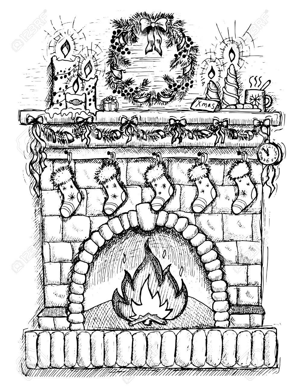 Illustration of fireplace with socks and Christmas decorations,..