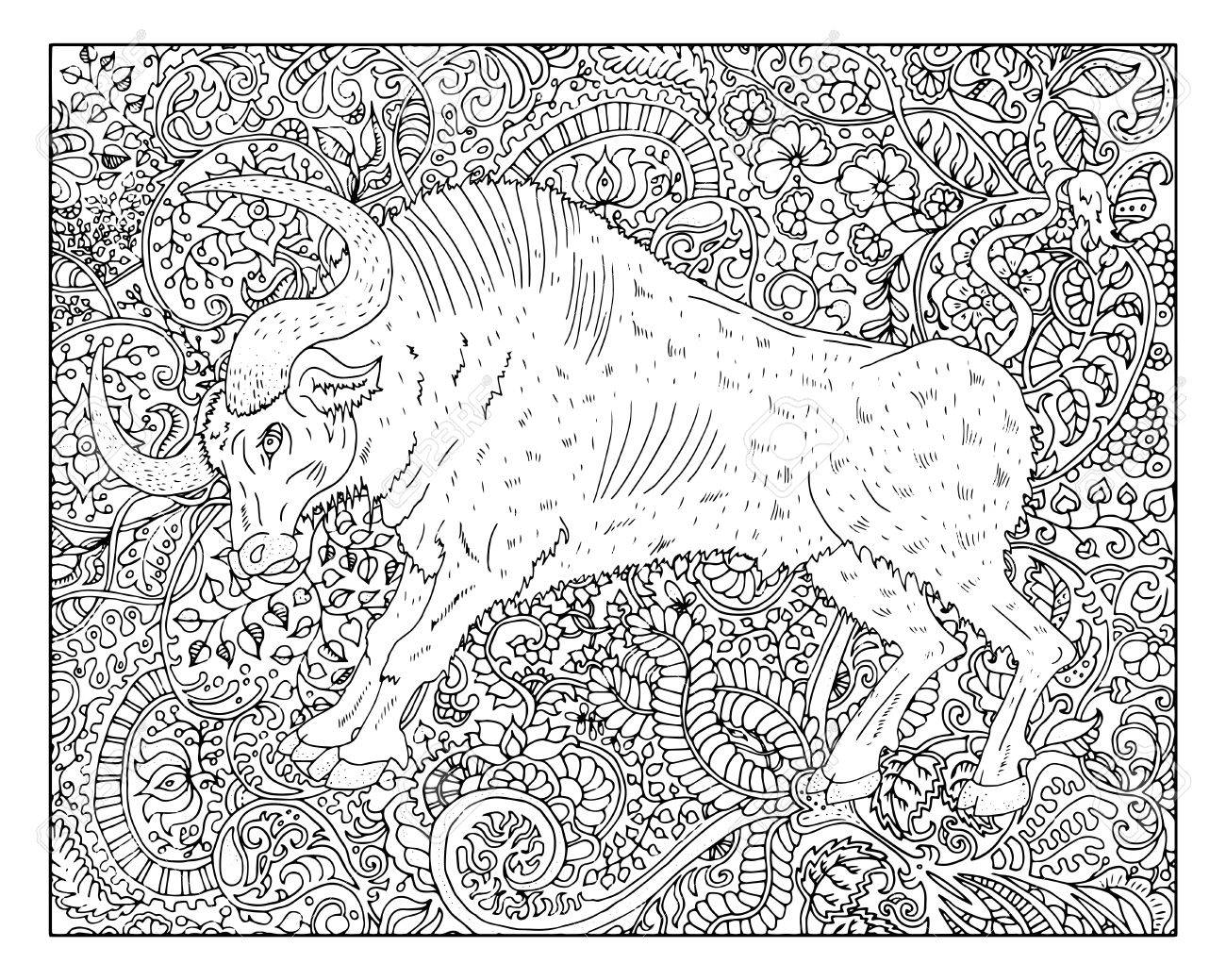Hand drawn ox against zen floral pattern background for adult