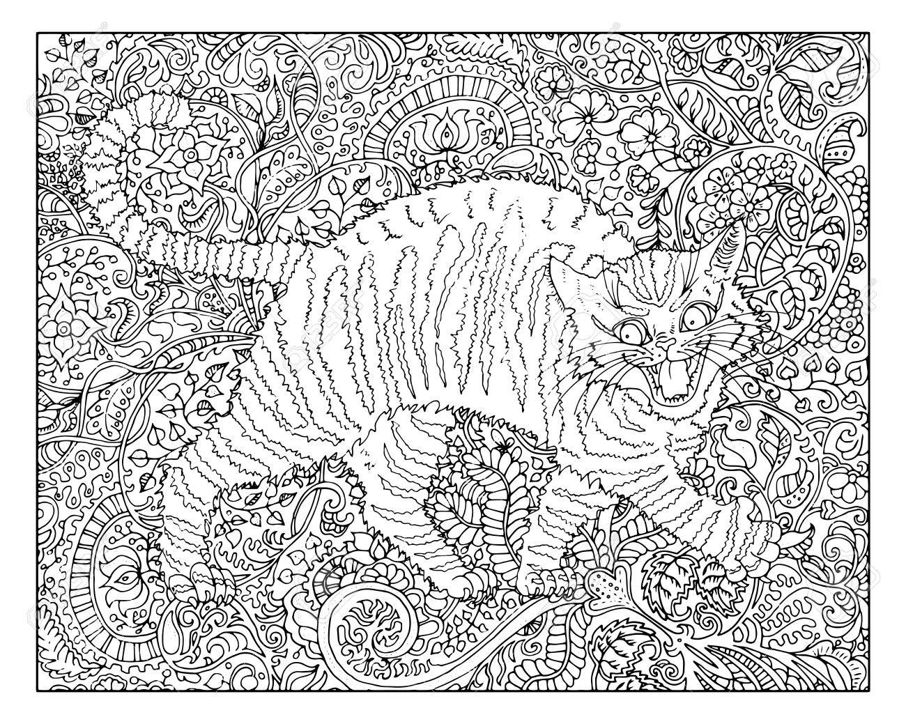 Hand Drawn Cat Against Zen Floral Pattern Background For Adult