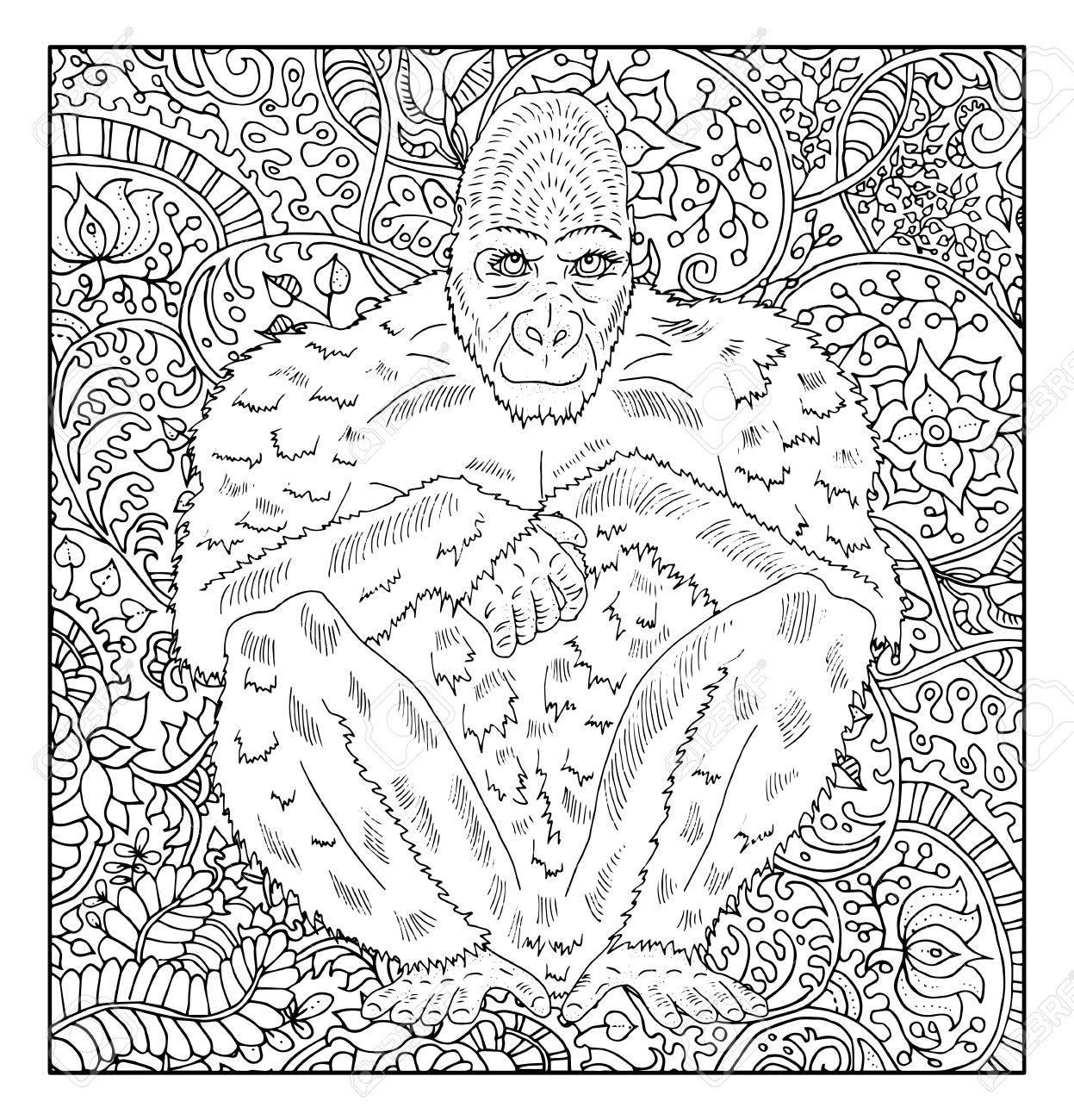 Coloriage Adulte Singe.Main De Singe Dessine Contre Zen Floral Motif De Fond Pour Les
