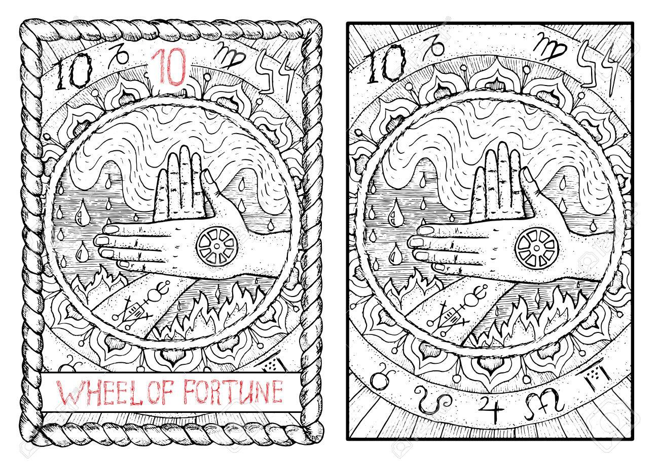 Wheel of fortune the major arcana tarot card vintage hand drawn the major arcana tarot card vintage hand drawn engraved illustration with buycottarizona