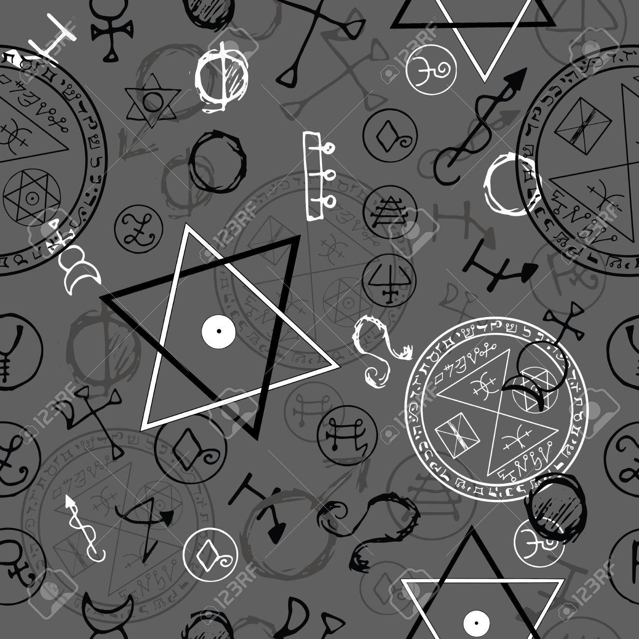 Seamless background with pentacles and magic symbols on grey seamless background with pentacles and magic symbols on grey hand drawn vector illustration stock biocorpaavc Choice Image