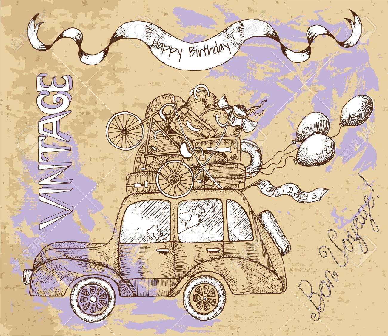 Carte Vintage Joyeux Anniversaire Avec Une Voiture Rétro Des Bagages Du Texte Et Des Ballons Sur Fond Texturé Doodle Line Art Illustration Avec