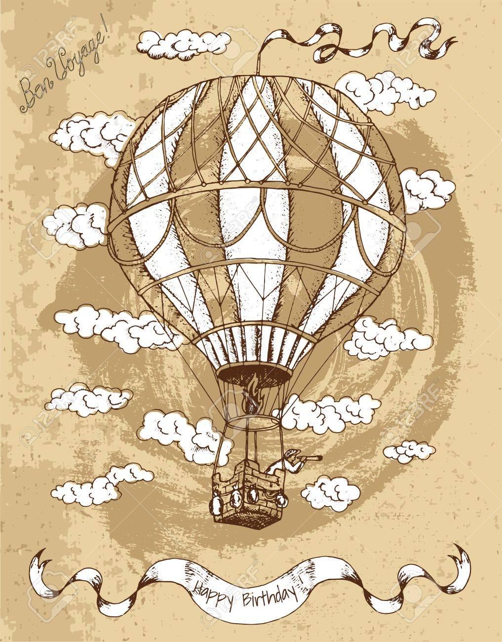 Carte Joyeux Anniversaire Vintage Avec Ballon à Air Chaud Bannière Texte Et Nuages Sur Fond Brun Texturé Art Ligne Doodle Illustration Avec