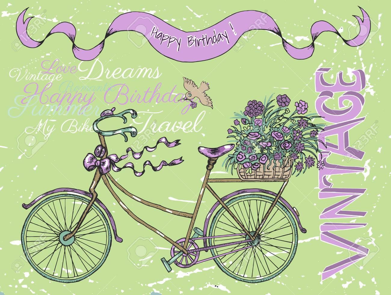 Scheda Di Buon Compleanno Dellannata Con Bici Retrò Testo E Fiori Scarabocchii La Linea Illustrazione Di Arte Con La Bicicletta Disegnata A Mano E