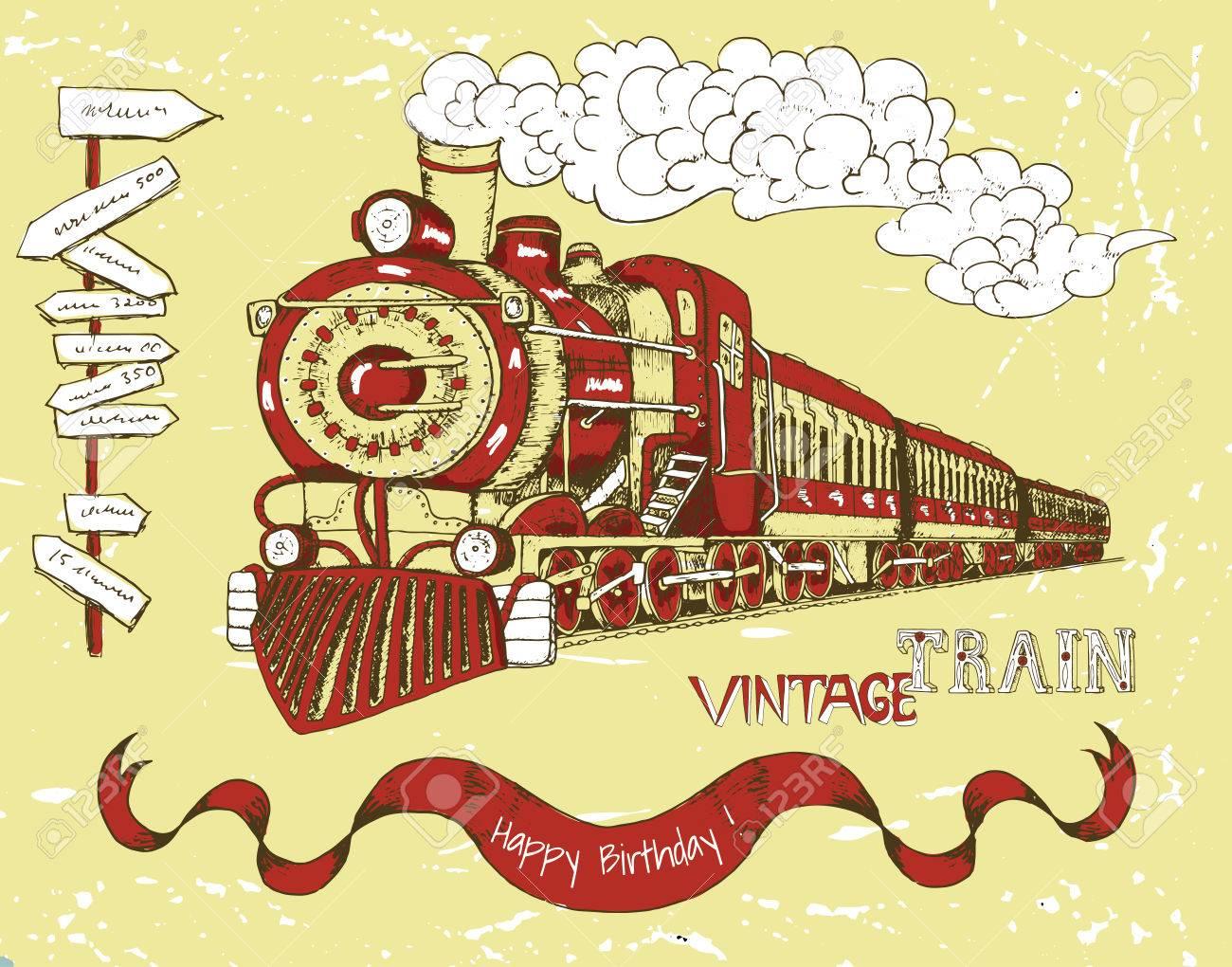 Carte D Anniversaire Retro Heureux Avec Le Vieux Train Rouge