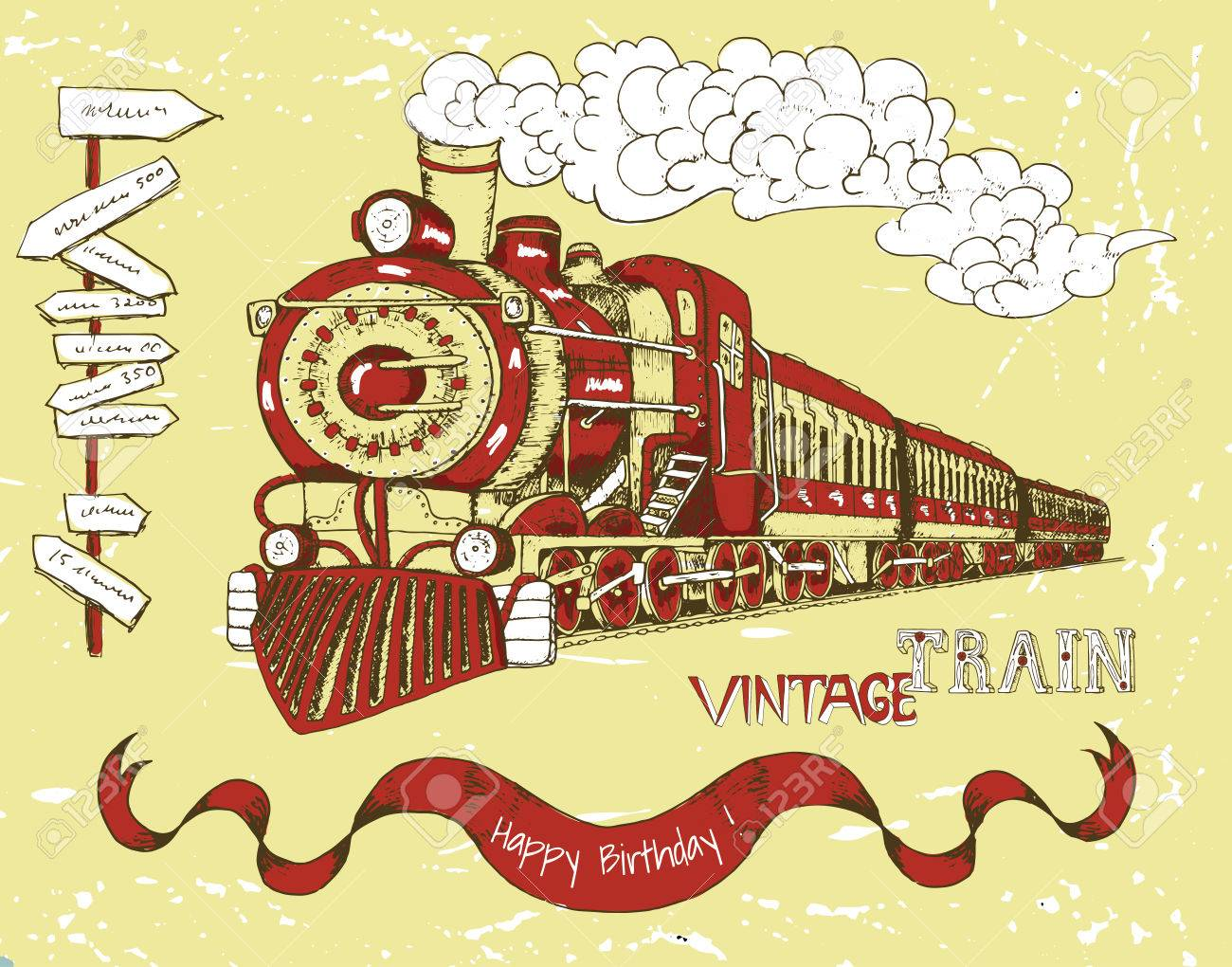 Retro happy birthday card with old red train banner and text retro happy birthday card with old red train banner and text on yellow background bookmarktalkfo Image collections