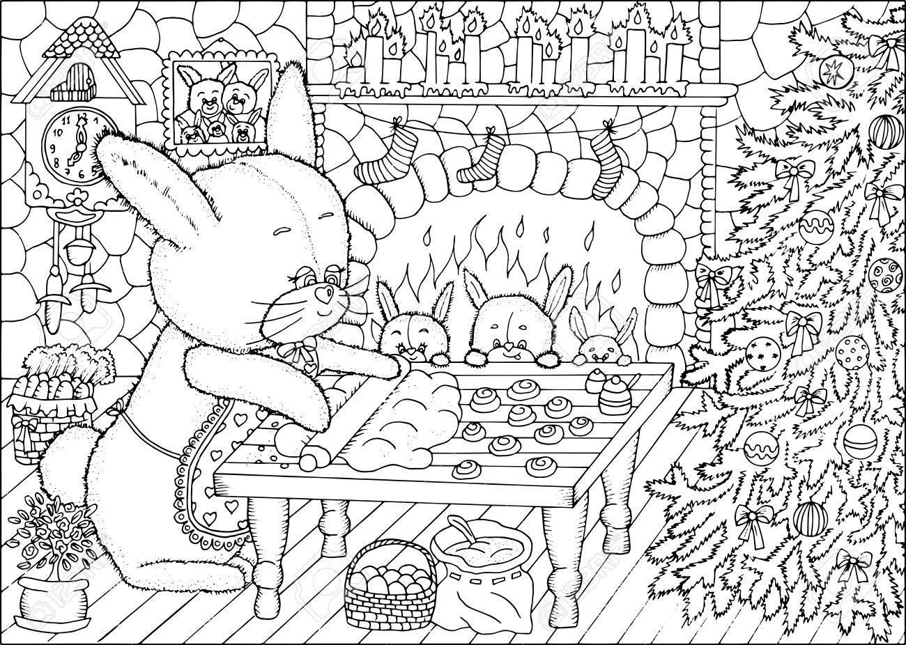 Blanco Y Negro Dibujado A Mano Ilustración Con El Conejito De La ...