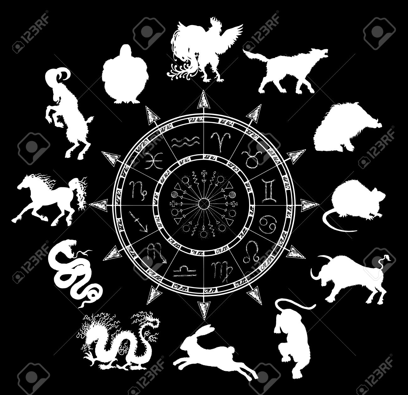 Black chart with horoscope symbols and chinese zodiac animals black chart with horoscope symbols and chinese zodiac animals silhouettes asian new year calendar signs nvjuhfo Image collections