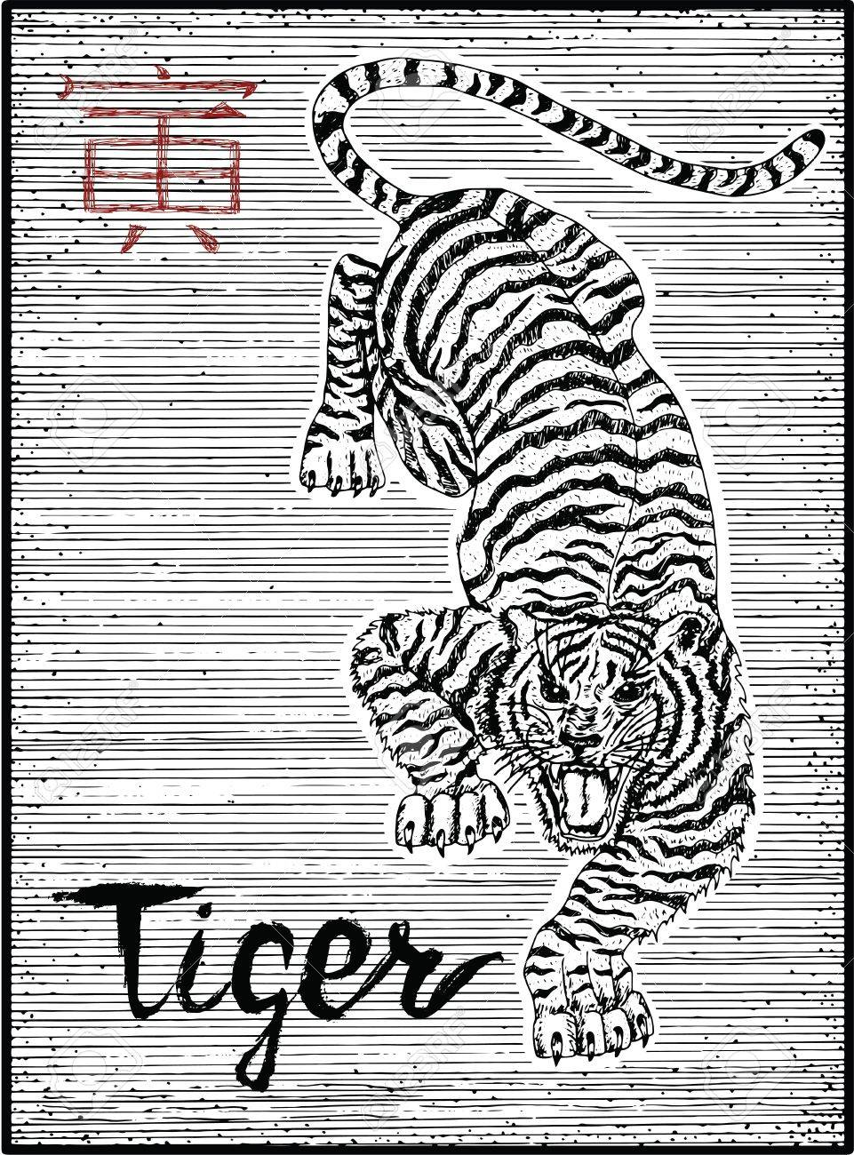 Engraved illustration of zodiac symbol with tiger and lettering engraved illustration of zodiac symbol with tiger and lettering horoscope and astrological sign of asian biocorpaavc
