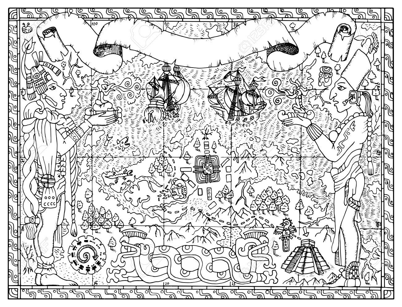 マヤアステカや海賊の地図 2 つの神々船ファンタジーの土地とします