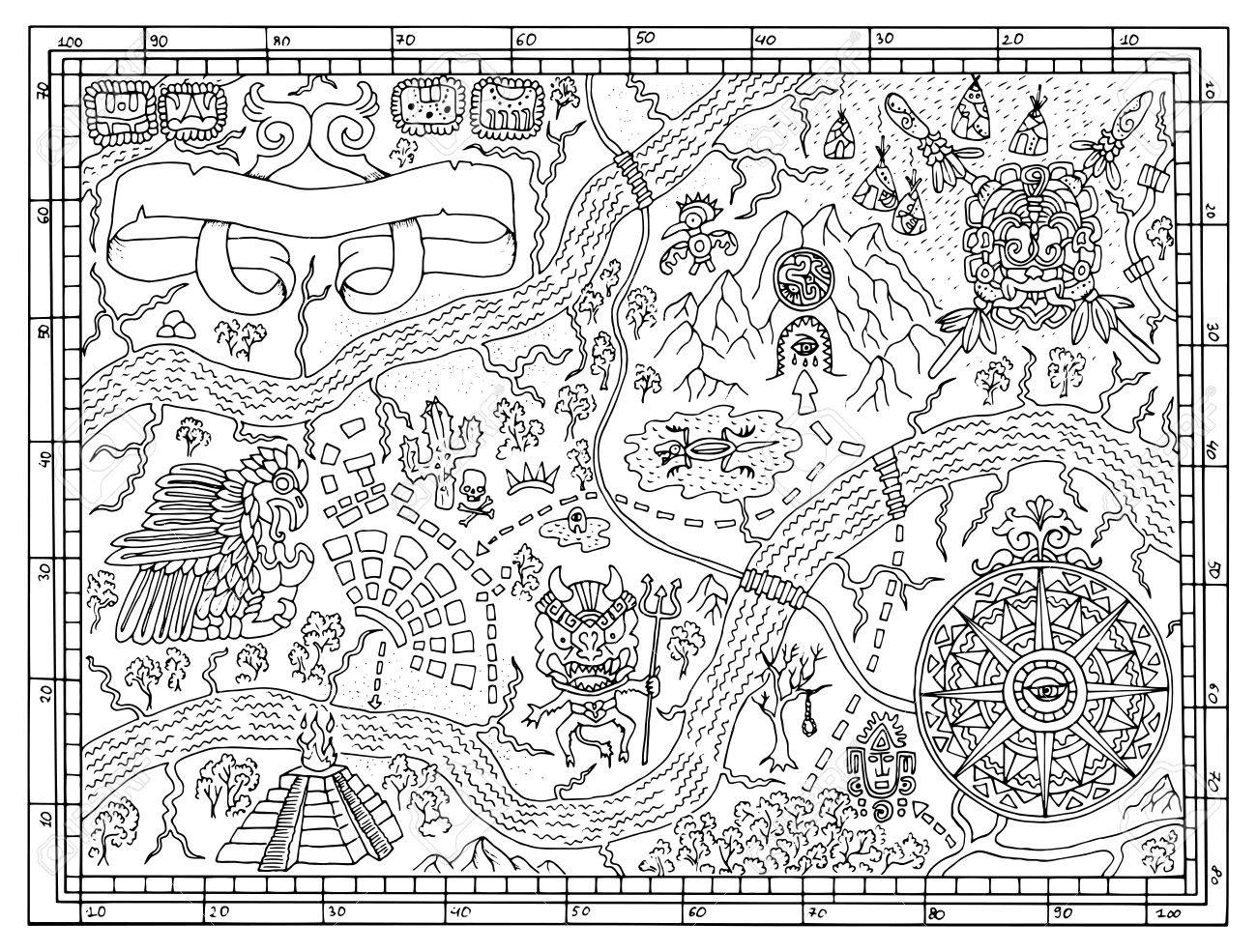Ancient Maya or pirate map for adult or kids coloring book. Hand..