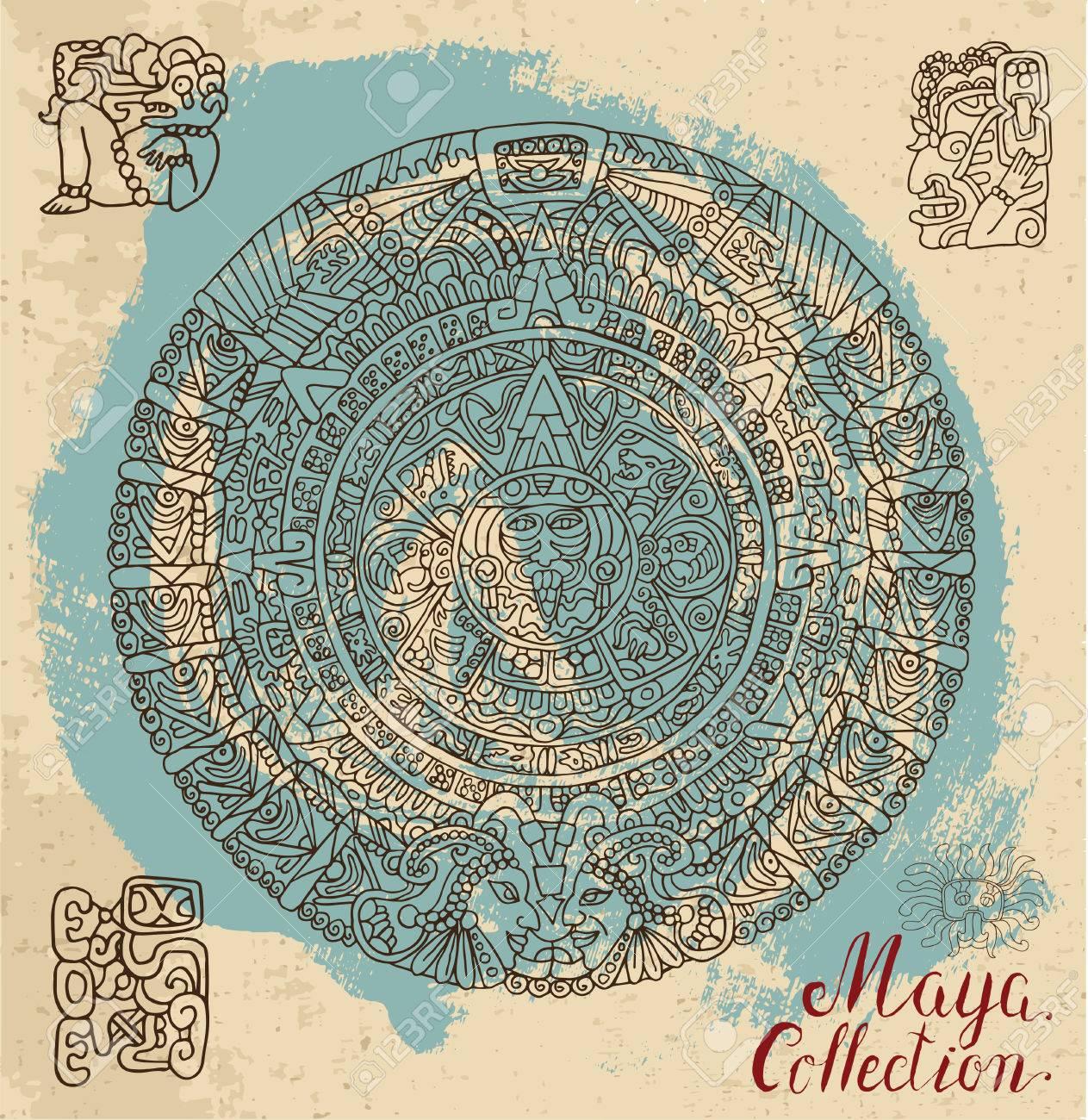 Calendrier Maya Dessin.Carte Vintage Avec L Ancien Calendrier Maya Et Des Ornements Ethniques Sur Fond Texture Motif Illustration Vectorielle Et Doodle Dessin Pour La