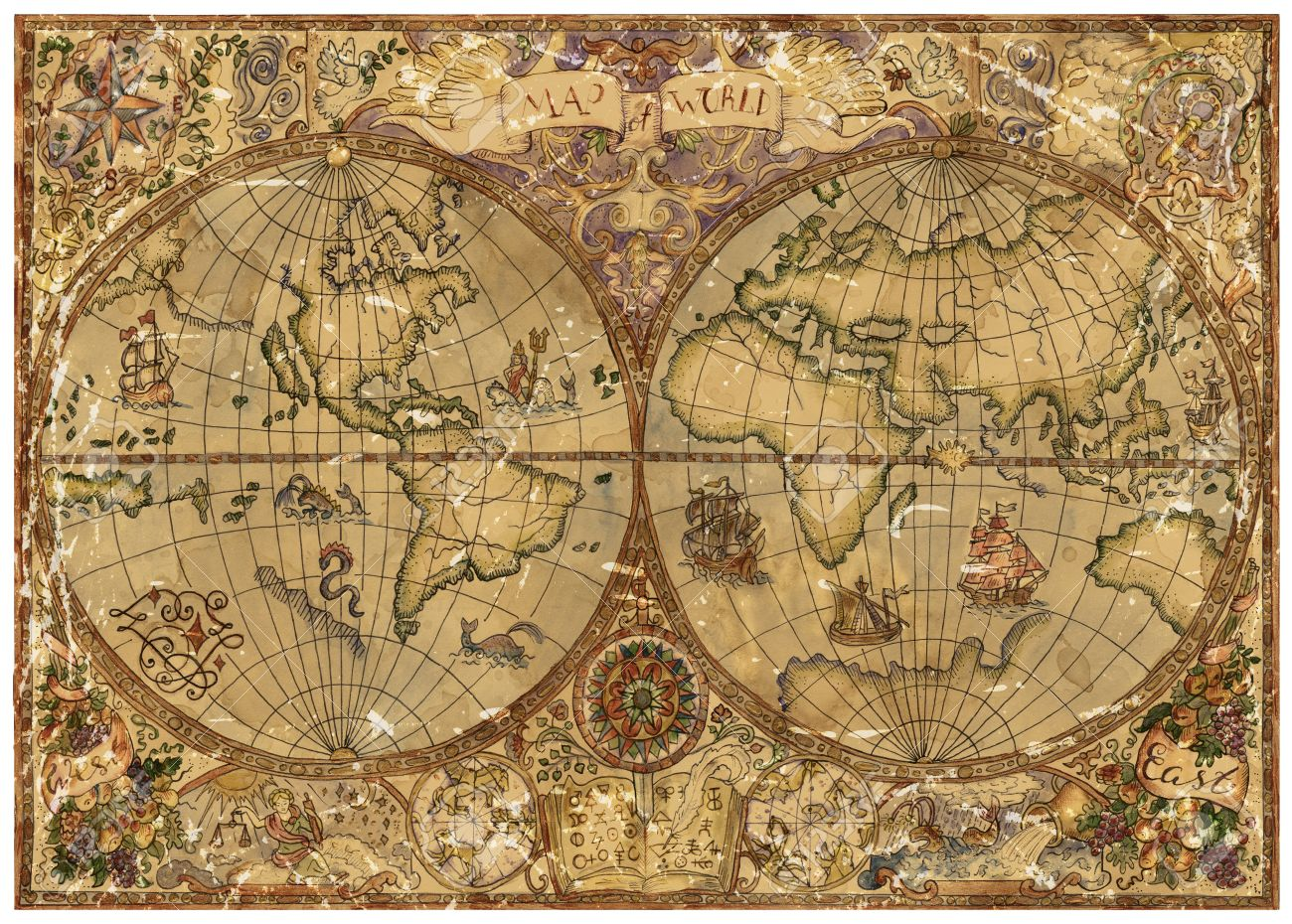 Pirate World Map.Vintage Illustration With World Atlas Map On Antique Parchment