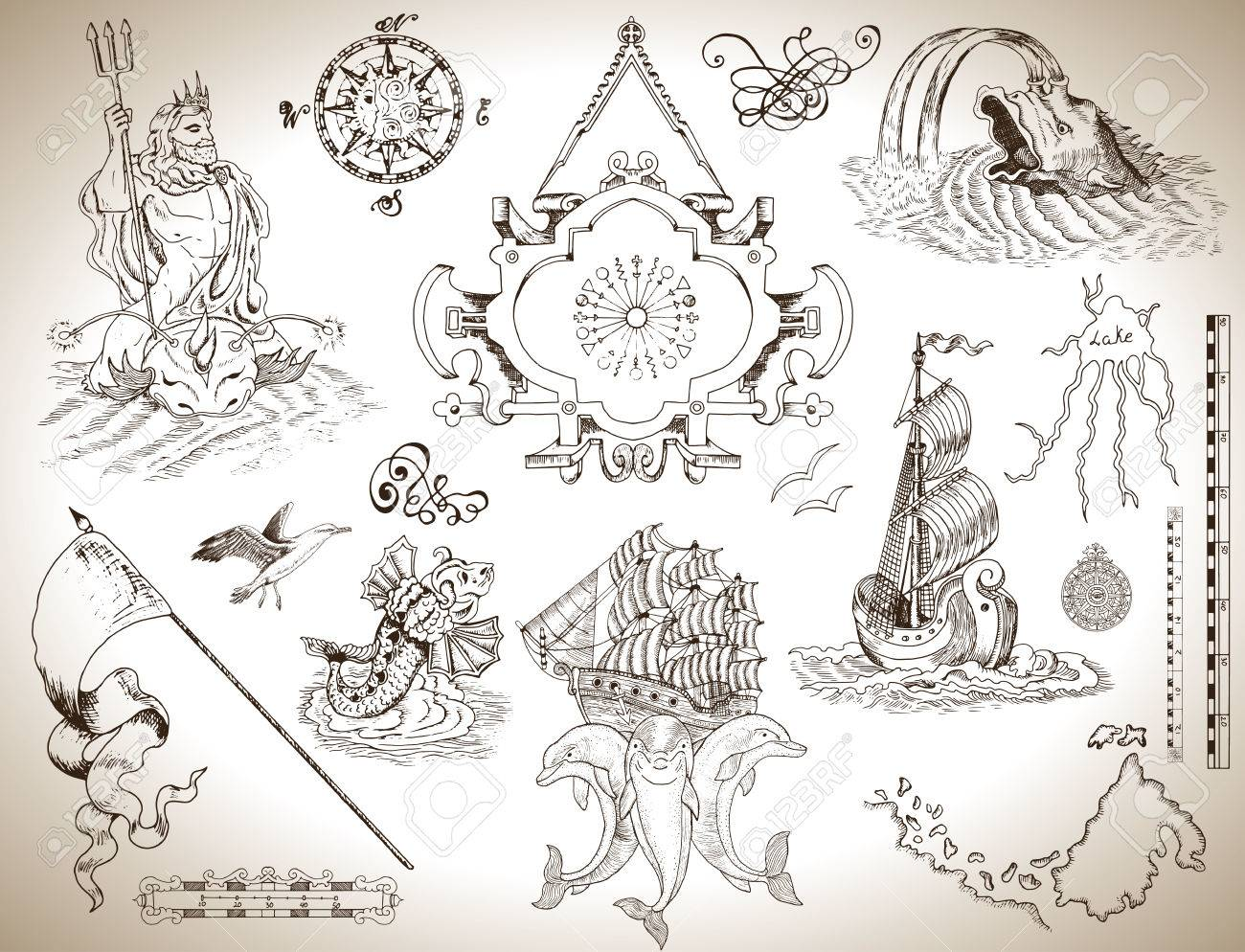 Design set of vintage graphic drawings with banner