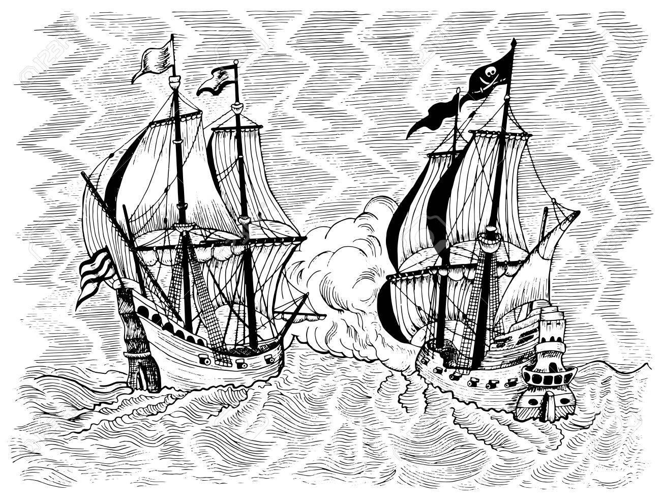 Grave Illustration Marine A La Bataille De La Mer De Bateau De