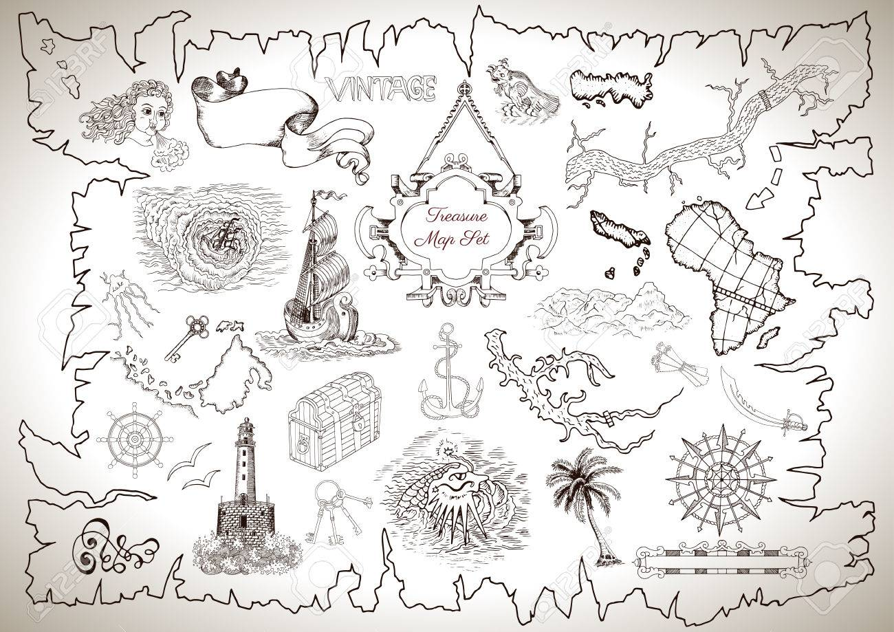 Vintage design collection for pirate map with engraved line drawings vintage design collection for pirate map with engraved line drawings of sailing ship light house biocorpaavc Gallery