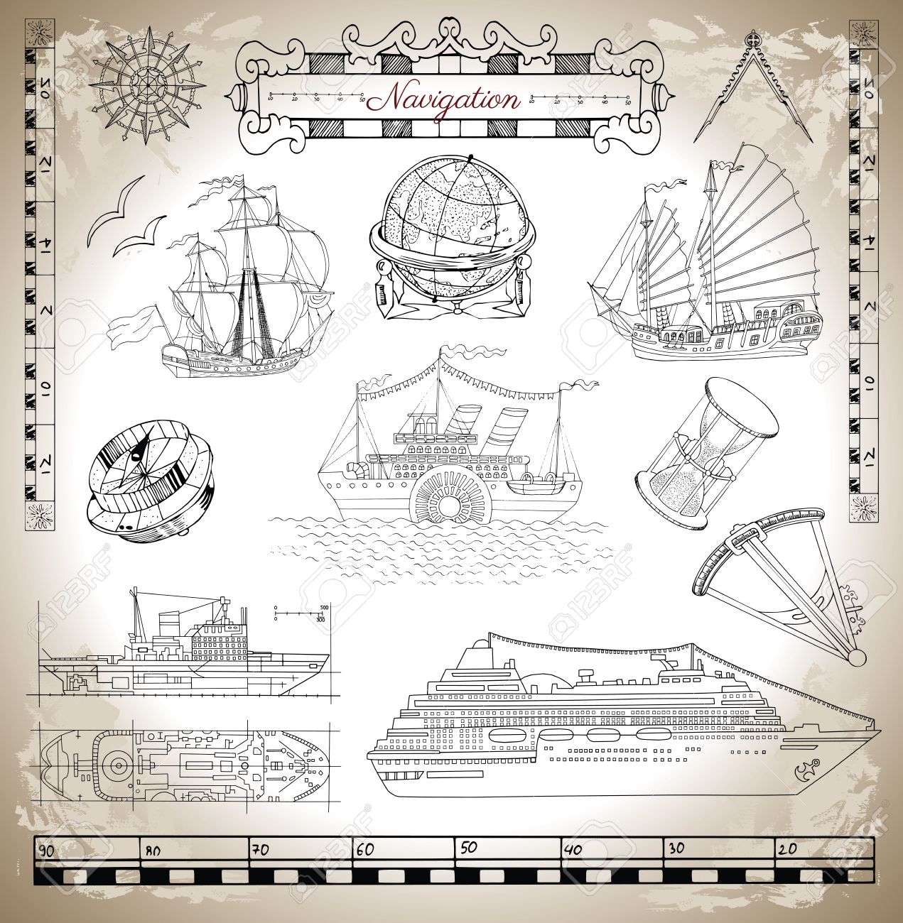Marine set with ancient and modern ships antique navigation marine set with ancient and modern ships antique navigation devices and tools vignette banners biocorpaavc Gallery