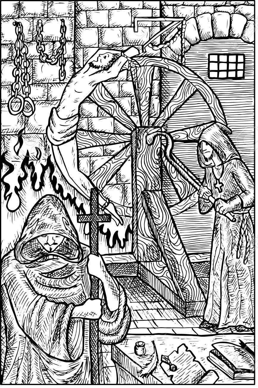 조사자. 중세 종교 재판, 고문과 희생자, 낡은 감옥. 판타지 마법의 생물 컬렉션입니다. 손으로 그린 된 벡터 일러스트 레이 션. 새겨진 라인 아트 드로잉, 그래픽 신화 낙서 스톡 콘텐츠 - 69931966