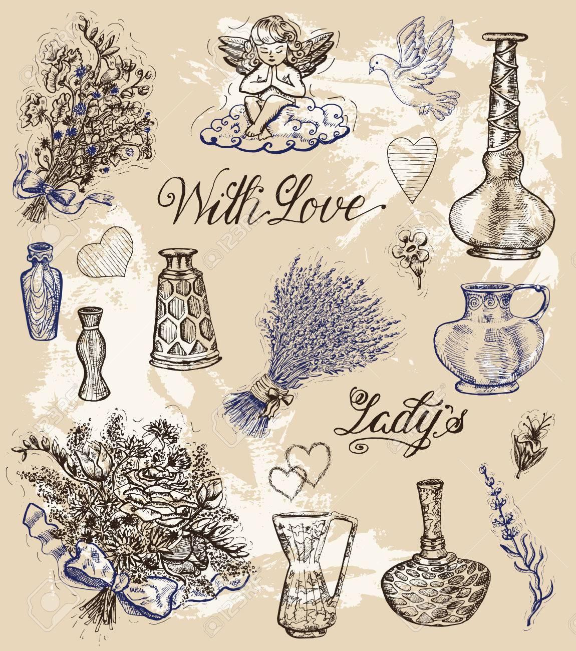 Grafico Fijado Con Las Botellas De Perfume Antiguas Flores Y Angel