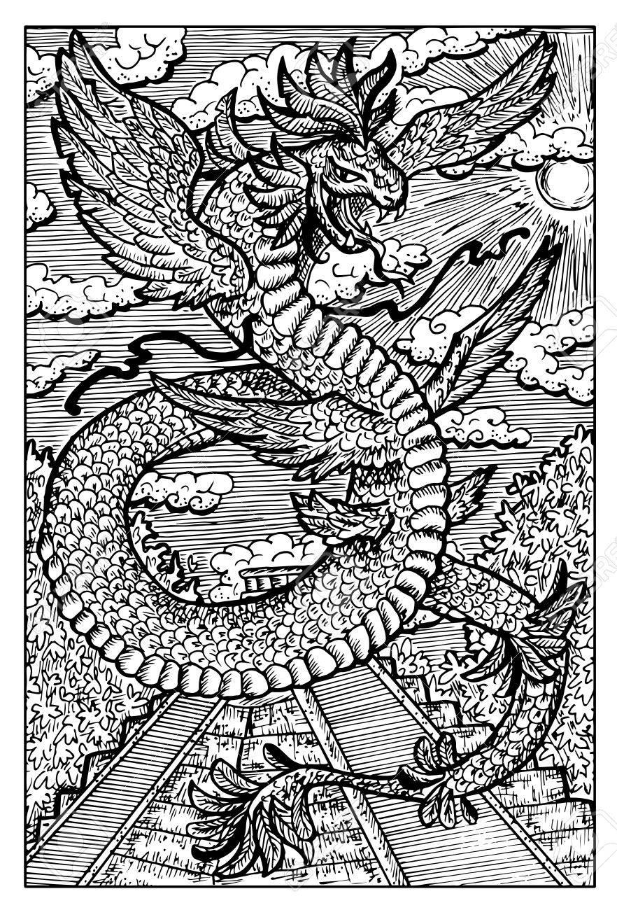 Quetzalcoatl La Serpiente Emplumada Antiguo Dios Azteca Dibujado