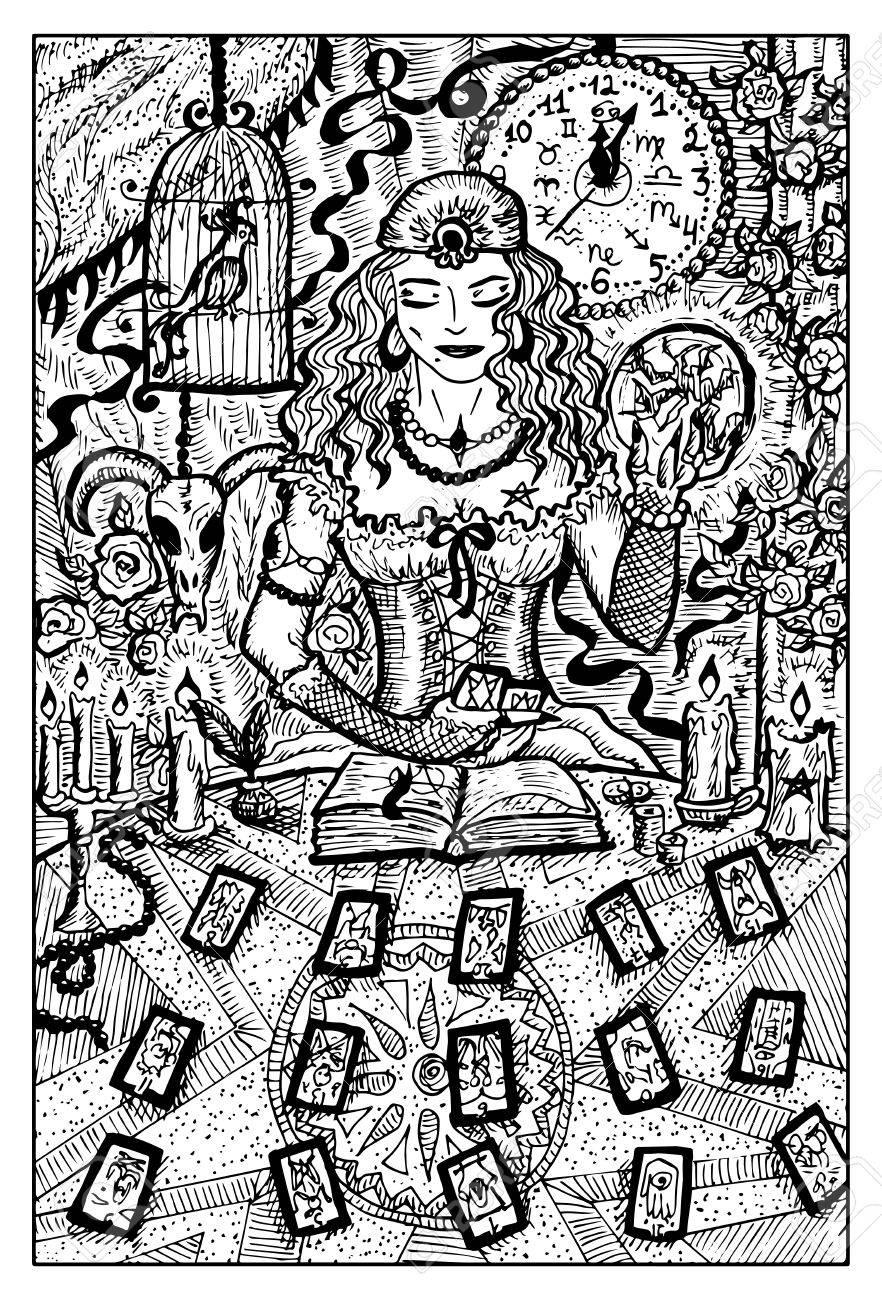 Femme Débardeur Avec Cartes De Tarot Et Balle Magique Illustration Dessinée Dessinée à La Main Dessin Dart En Ligne Gravé Griffonnage Noir Et