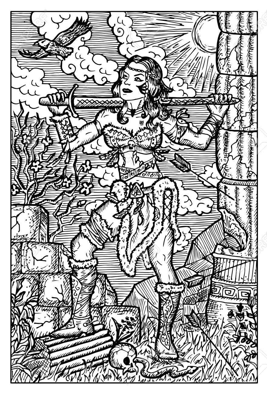 Guerrière Amazone Avec Lépée Regardant Laigle Illustration Vectorielle Dessinés à La Main Dessin Au Trait Gravé Griffonnage Noir Et Blanc Voir