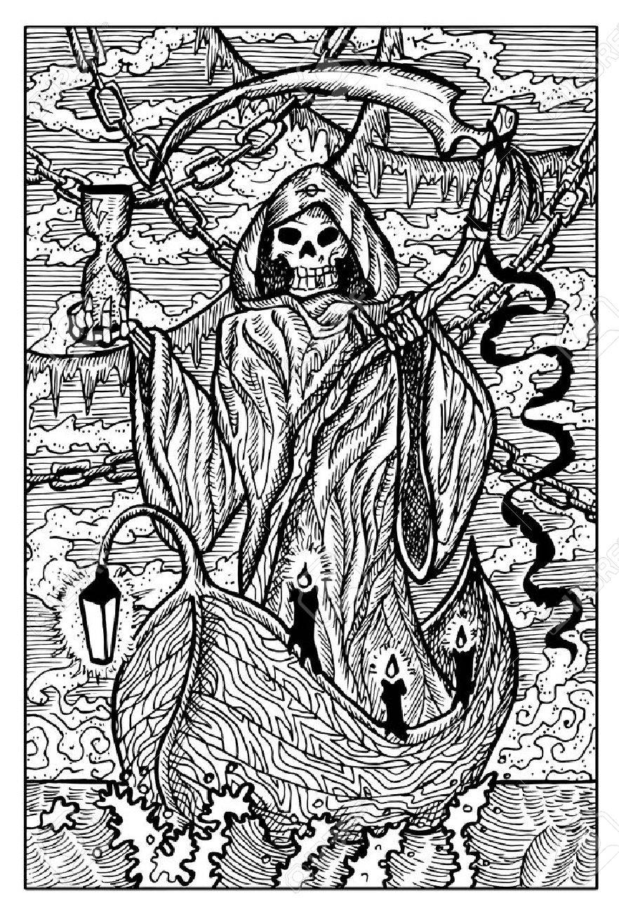 The death grim reaper hand drawn vector illustration engraved