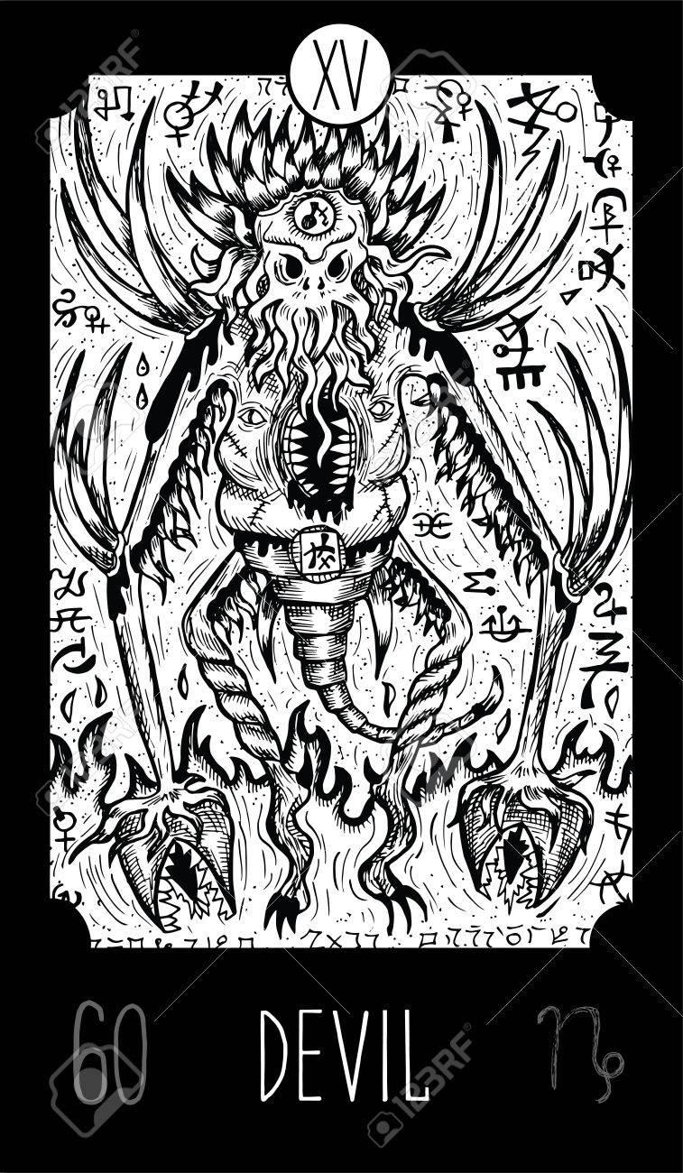 Carte Tarot Diable.Diable 15 Carte De Tarot Arcana Majeure Demon D Horreur Illustration D Art De Ligne Gravee Gravee Dessin Vectoriel Grave Voir Toute La Collection